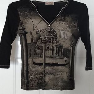 Blue Canyon black 3/4 quarter sleeve t-shirt